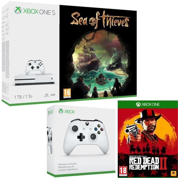 Xbox One S 1 To Sea of Thieves + Red Dead Redemption 2 + manette