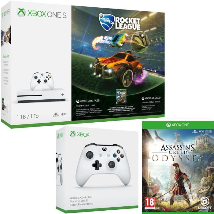 Xbox One S 1 To Rocket League + Assassin's Creed Odyssey + manette