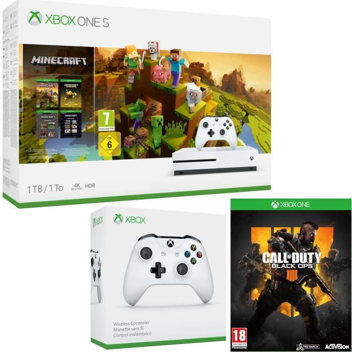 Xbox One S 1 To Minecraft Creators + Call of Duty Black Ops 4 + manette