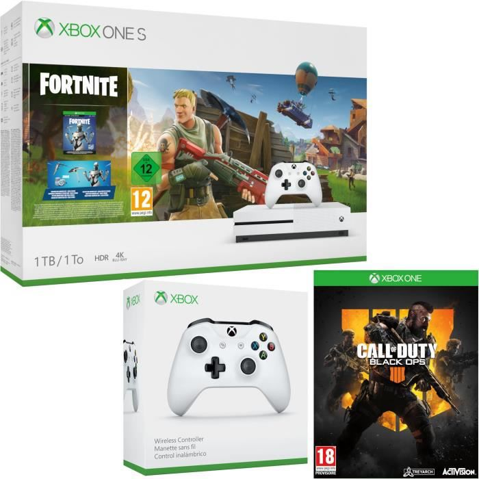 Xbox One S 1 To Fortnite + Call of Duty Black Ops 4 + manette
