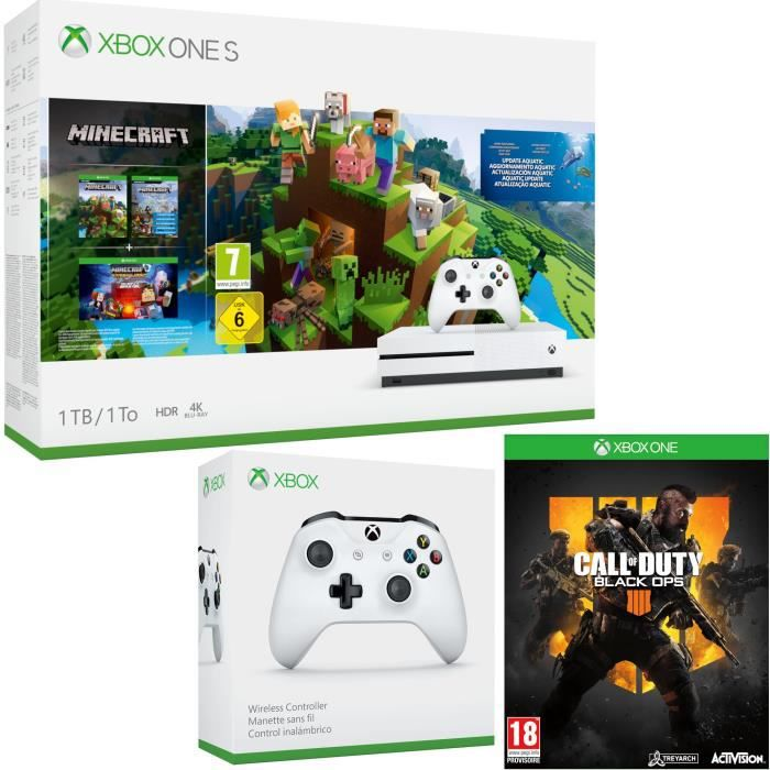 Xbox One S 1 To Minecraft + Call of Duty Black Ops 4 + manette