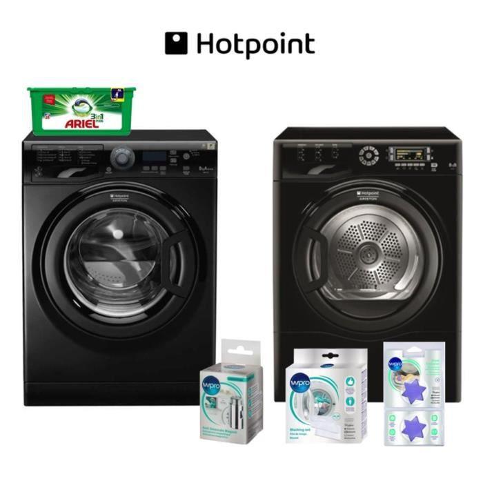 Pack tout inclus : Lave linge Hotpoint + Sèche linge + ARIEL PODS + Filet de lavage + Anti-calcaire magnétique + Etoiles parfumées