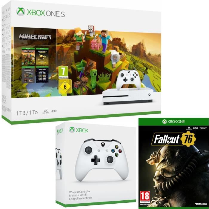 Xbox One S 1 To Minecraft Creators + Fallout 76 + manette