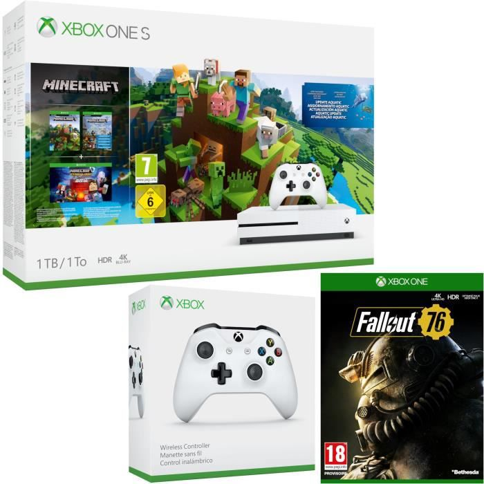 Xbox One S 1 To Minecraft + Fallout 76 + manette