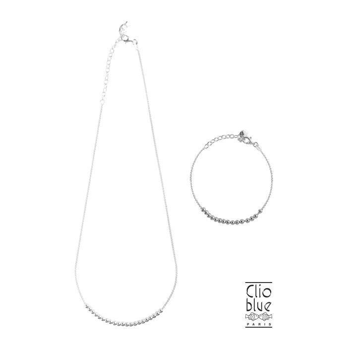 CLIO BLUE Parure Collier + Bracelet argent 925