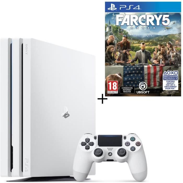 Pack PS4 Pro 1 To Blanche + Far Cry 5 Jeu PS4