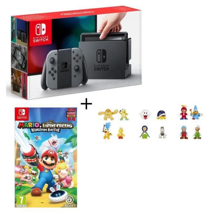 Console nintendo switch avec paire de joy con gris mario the lapins crétins kingdom battle jeu switch figurines offertes