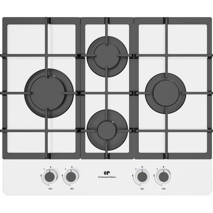 CONTINENTAL EDISON CECTG4GFVW Plaque de cuisson gaz verre 4 foyers - bruleur en fonte, blanc