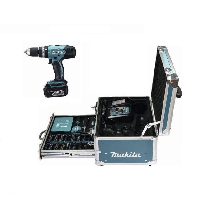 MAKITA Perceuse-visseuse à percussion DHP453RFX1, 1 batterie 18 V et une mallette en aluminium avec 96 accessoires