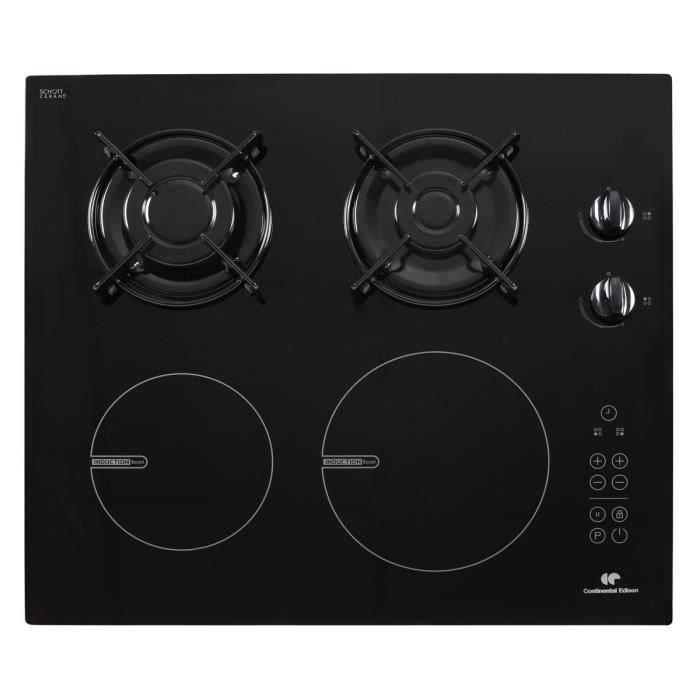 CONTINENTAL EDISON CECPM2G2I Table de cuisson mixte gaz / induction-4 foyers-revêtement verre-Noir