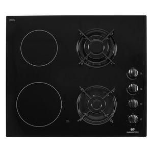 CONTINENTAL EDISON CECPM2G2 Table de cuisson mixte gaz / vitrocéramique-4 foyers-L60cm-Rev?tement verre-Noir