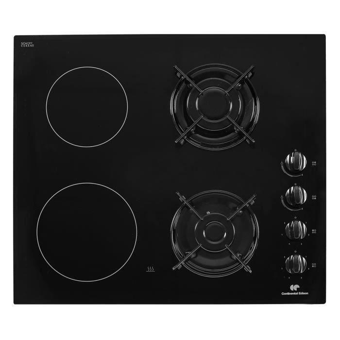 CONTINENTAL EDISON CECPM2G2 Table de cuisson mixte gaz / vitrocéramique 4 foyers L60cm Revêtement ve