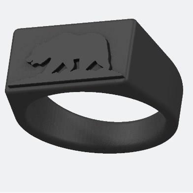 Design de MadebyDan. Personnalisez par impression 3D votre Bague Ours Californien pour une création uniqueBAGUE - ANNEAU