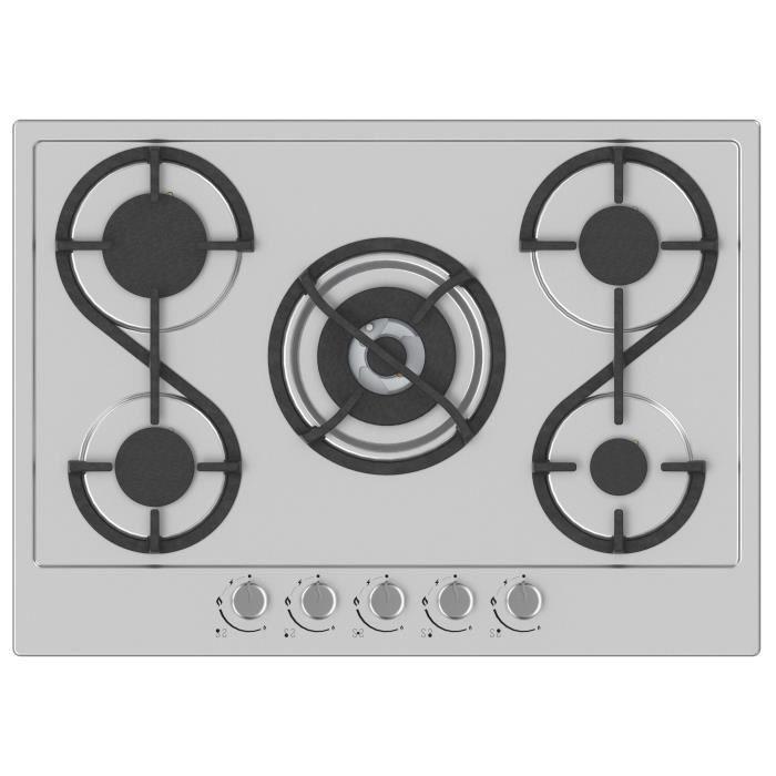 HUDSON HTG 5 I - Table de cuisson gaz - 5 foyers - L 60 cm - Revêtement email - Inox