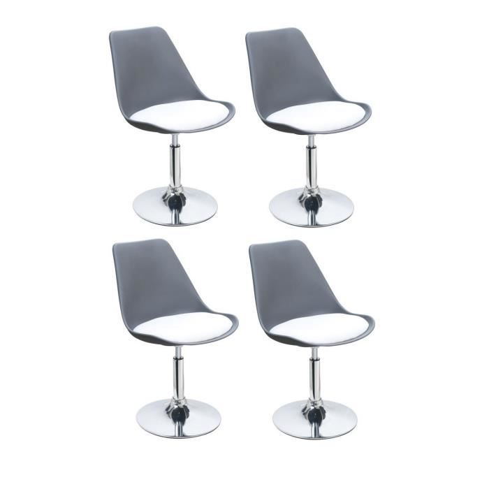POPPY Lot de 4 chaises rotatives de salle à manger - Gris et blanc