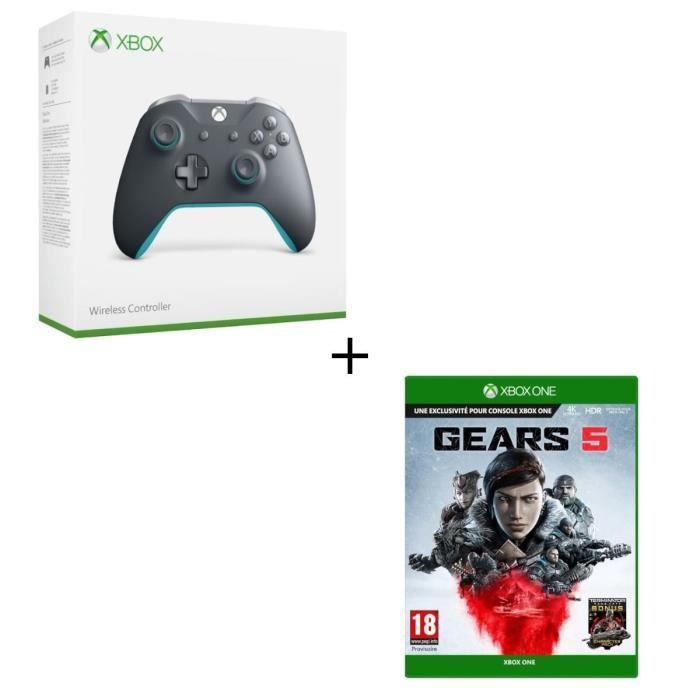 Manette Xbox One sans fil Grise/Bleue + Jeu Xbox One Gears 5