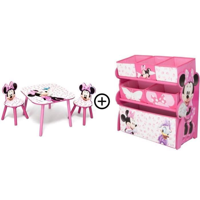 Minnie - Deltakids - Table + Chaises + Etagère - Chambre Fille - A partir de 3 ans