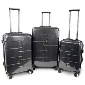 KINSTON Set de 3 Valises Rigide ABS & Polycarbonate 8 Roues 56-66-76cm Gris Foncé