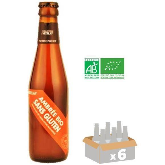 BRASSERIE DE VELELAY - Bière Ambrée - Bio - Sans Gluten - 6x 25 cl - 5,6 % - Fabriquée en FranceBIERE