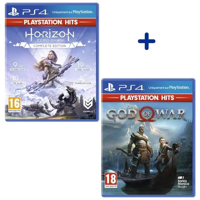 Pack 2 Jeux PS4 PlayStation Hits : Horizon Zero Dawn Complete Edition + God of War