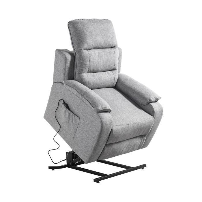 Fauteuil releveur de relaxation CALM - Simili blanc et tissu gris - Moteur électrique et lift releve