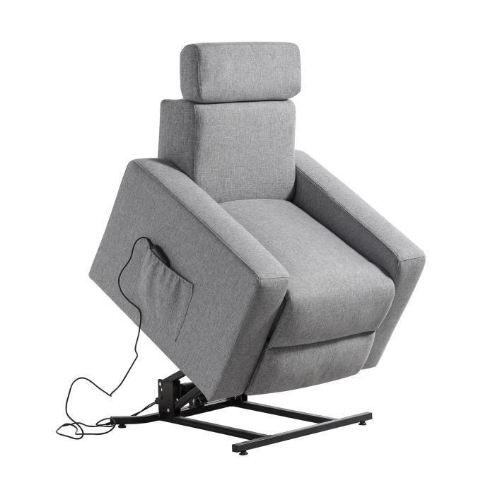 Fauteuil de relaxation releveur TILIO - Tissu gris chiné - Moteur électrique et lift releveur