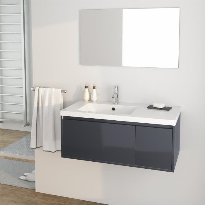 MDF et PVC laqué gris brillant - 1 meuble sous-vasque 90 cm + simple vasque + 1 miroirSALLE DE BAIN COMPLETE