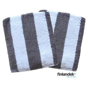 FINLANDEK Lot de 2 serviettes de toilette 50x100 cm rayées gris