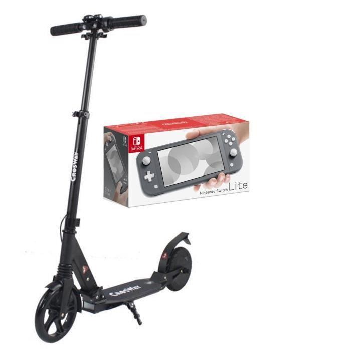Pack NINTENDO Switch Lite Gris + CROSWAY Trottinette assistance électrique 8\