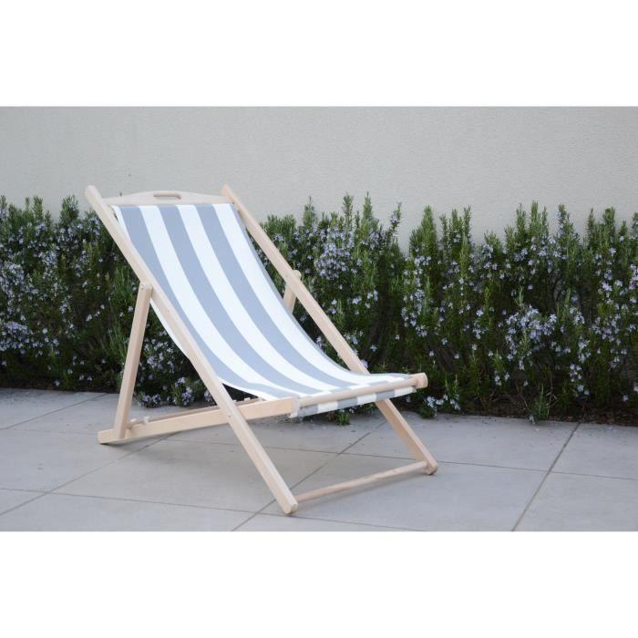 ITALIADOC Chaise chilienne en hêtre masif et toile - 58 x 95 x H 87 cm - Blanc et gris