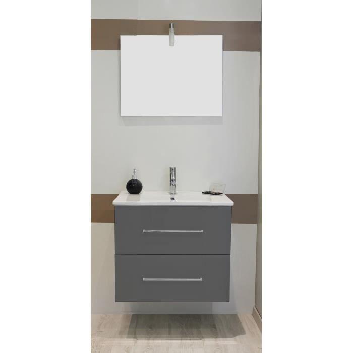 SHILOH Salle de bain complète simple vasque avec miroir - Laqué gris