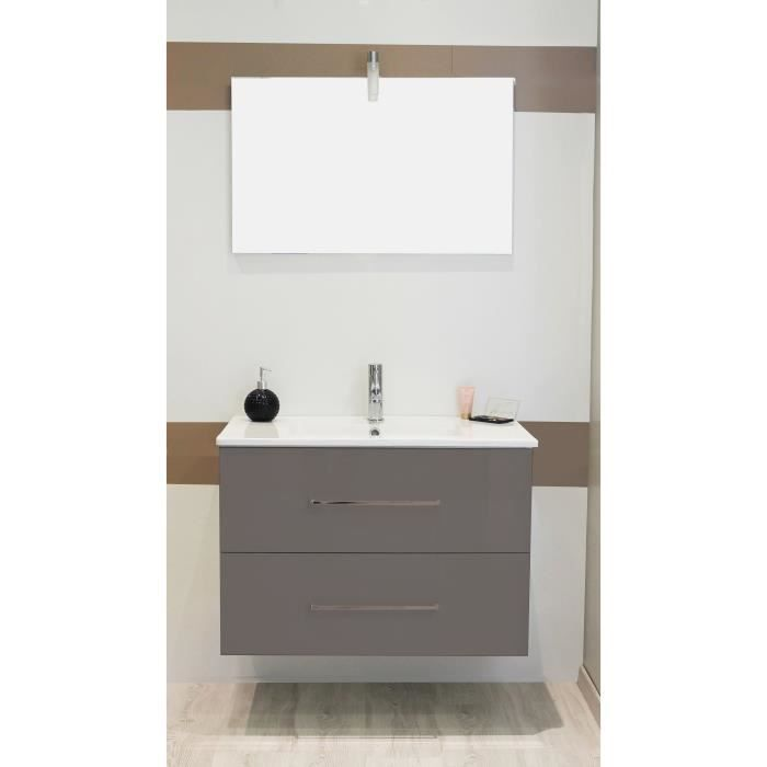 SHILOH Salle de bain complète simple vasque - Laqué gris
