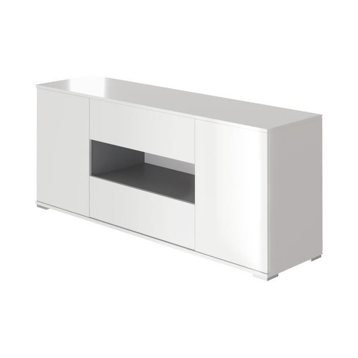 Panneaux de particules blanc brillant et gris anthracite - L 160 x P 42 x H 66 cm - 2 portes - 2 tiroirsMEUBLE TV - MEUBLE HI-FI