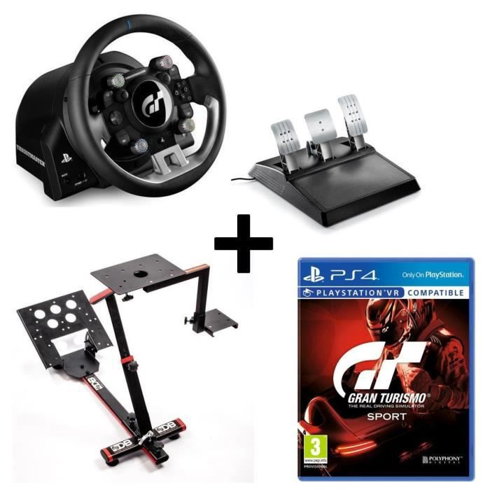 Pack THRUSTMASTER Volant et Pédalier T-GT - Version EU + 69DB Support Wheel Stand EVO + Jeu Gran Turismo Sport PS4/VR