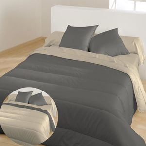 BLEU CALIN Couette chaude bicolore Graphite Chamois 220x240 cm
