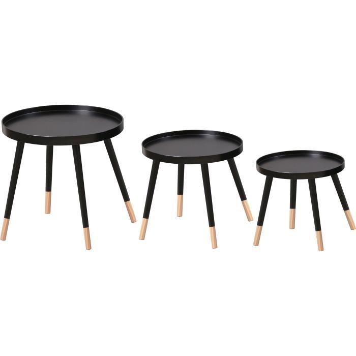 FINLANDEK Lot de 3 tables gigognes rondes SVEN scandinave - Plateau noir + pieds pin massif bicolore