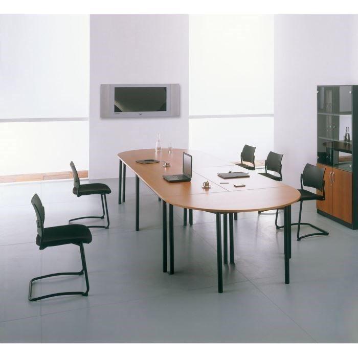 Table de réunion modulaire L120xP60cm Hêtre/alu, pieds carrésTABLE DE REUNION