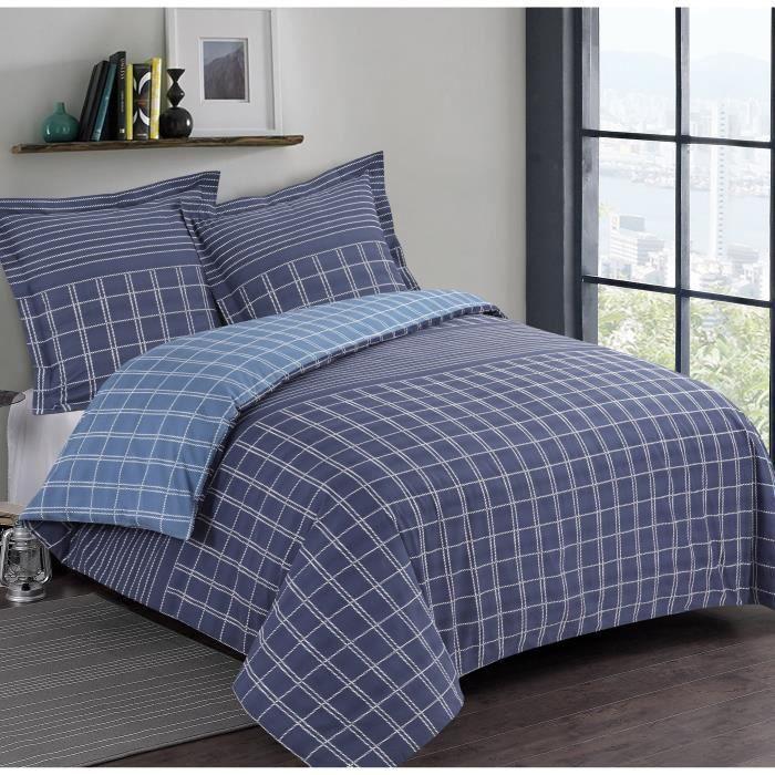 100% coton - Housse de couette 140 x 200 cm + 1 taie d'oreiller 65 x 65 cm - Motifs géométriques - BleuPARURE DE COUETTE