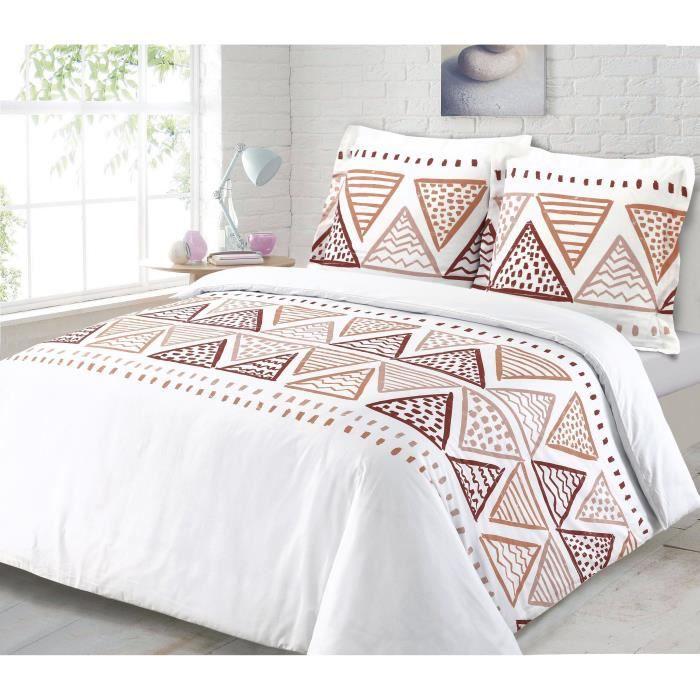 100% coton - Housse de couette 240 x 260 cm + 2 taies d'oreiller 65 x 65 cm - Motifs géométriques - BlancPARURE DE COUETTE
