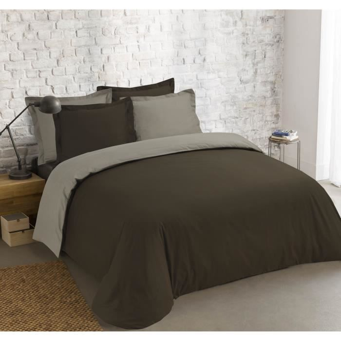 VISION Parure de couette Bicolore 100% coton - 1 housse de couette 240x260 cm + 2 taies 65x65 cm marron et taupe