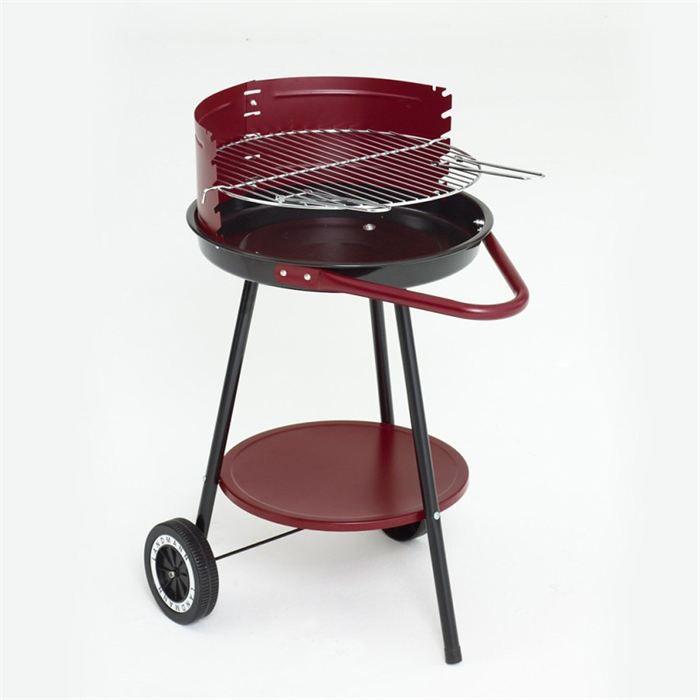 GRILL CHEF Barbecue à charbon - Acier émaillé - Ø 46,5 cm - Rouge et noir