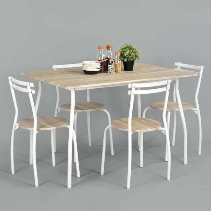 REED Ensemble table à manger + chaises 4 personnes contemporain en métal - Plateau et assises coloris hêtre - L 120 x l 80 cm
