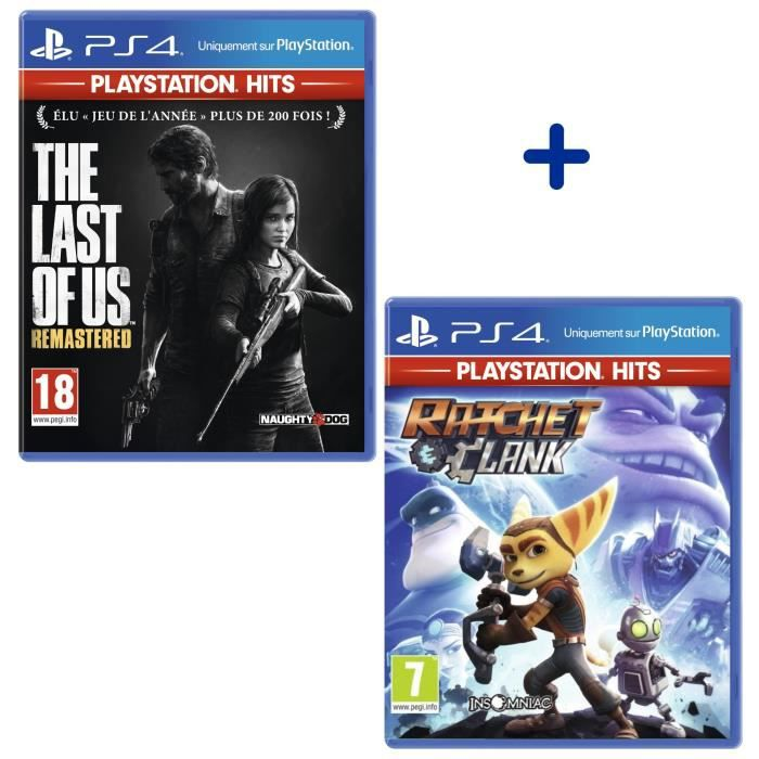 Pack 2 Jeux PS4 PlayStation Hits : The Last Of Us Remastered + Ratchet & Clank