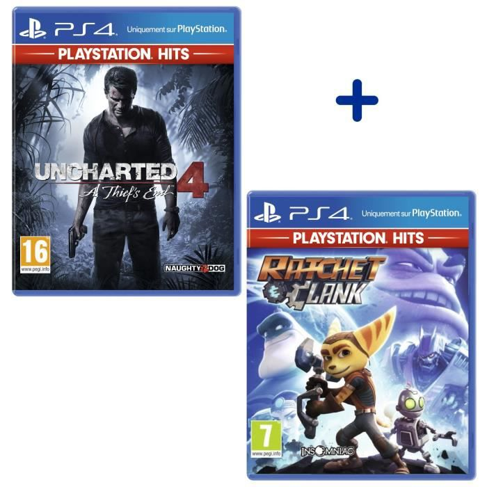 Pack 2 Jeux PS4 PlayStation Hits : Uncharted 4 A Thief's End + Ratchet & Clank