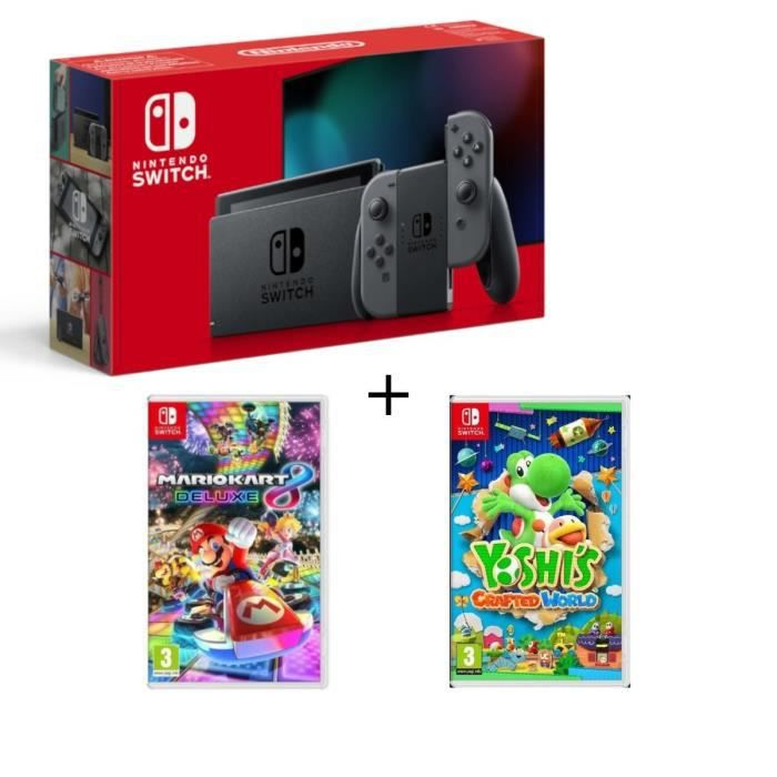 Pack nintendo switch grise yoshis crafted world mario kart 8 deluxe