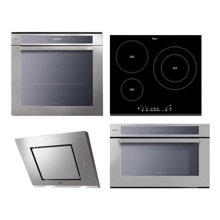 WHIRLPOOL Four électrique - 73 L + Plaque à induction - 3 zones + Hotte - 3 vitesses + Micro-ondes - 31 L