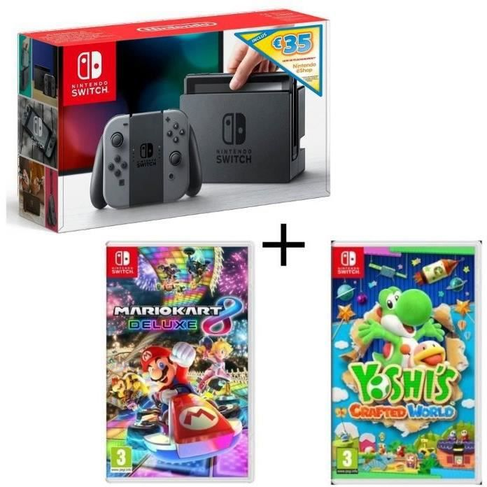 Pack Nintendo Switch Grise Edition Limitée + Yoshi's : Crafted World + Mario Kart 8 Deluxe + code téléchargement 35€ Nintendo eShop