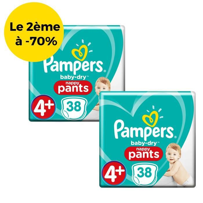 PAMPERS Baby-Dry Pants Géant Taille 4+ X38– Lot de 2 packs