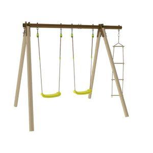 BALANCOIRE / PORTIQUE en bois TRIGANO PIKI 3 agr?s dont 2 balançoires en bois et métal Trigano 1,90 m de hauteur