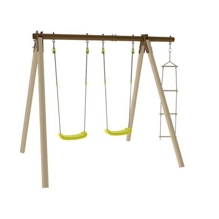 Balançoire / Portique en bois TRIGANO PIKI 3 agrès dont 2 balançoires en bois et métal Trigano 1,90 m de hauteur